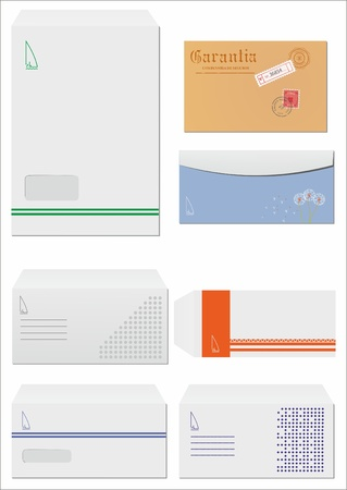 set of corporate different postal envelopes