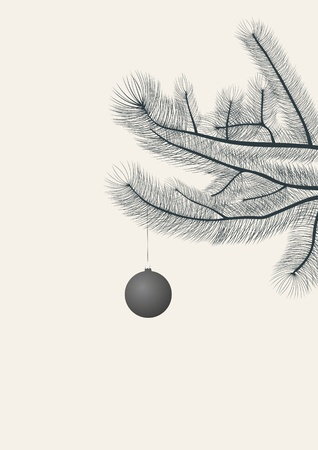 pine branch: Christmas ball hanging on a pine branch   Illustration