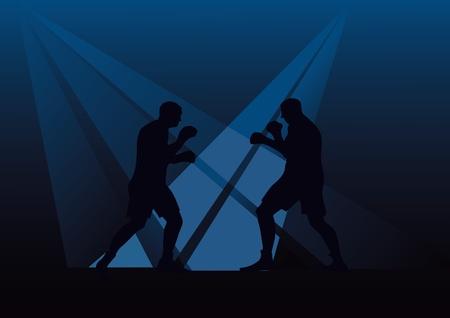 peleando: Dos personas que trabajan en el boxeo contra un fondo oscuro Vectores
