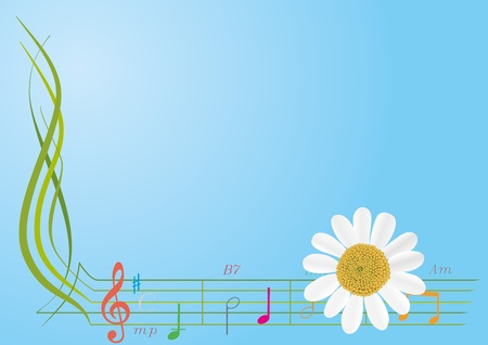 Abstract flower and musical notes on a blue background   Illustration