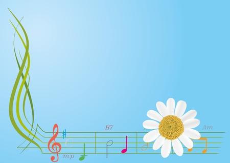 music design: Resumen de flores y notas musicales sobre un fondo azul