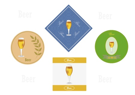 Four color various labels under a beer glass