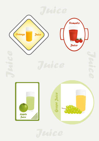 Set from four various kinds of fruit juice