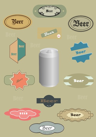 Can of beer and set of different labels from beer