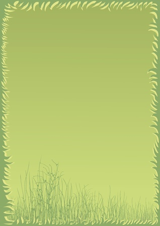 green field in an abstract frame on a green background
