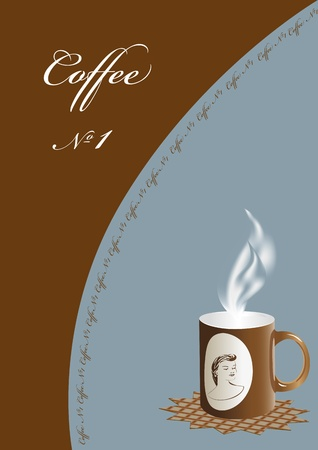 advertizing illustration of a cup of hot coffee