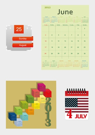 set of four vaus colourful calendars   Stock Vector - 13663987