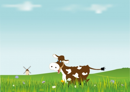 Comic cow in the middle of a green field