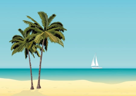Two lonely palm trees and the yacht on an abstract tropical beach
