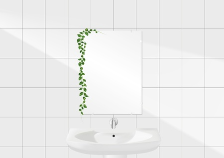 white bathroom: white bathroom with a mirror and green leaves Illustration