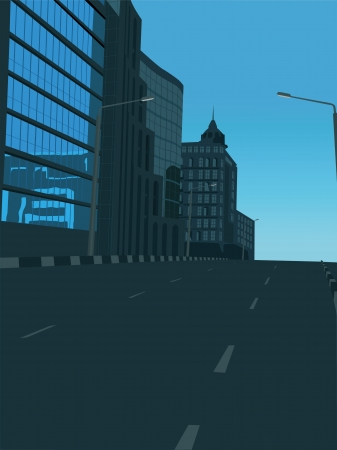 business district: The street in the business district of the city   Illustration