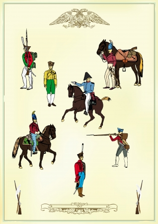 cavalry: Set of images of pedestrian and horse hussars