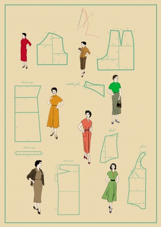 page with the drawing from the magazine of the fashion designer   Illustration