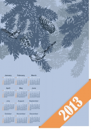 calendar with the image of winter branches of a fir-tree