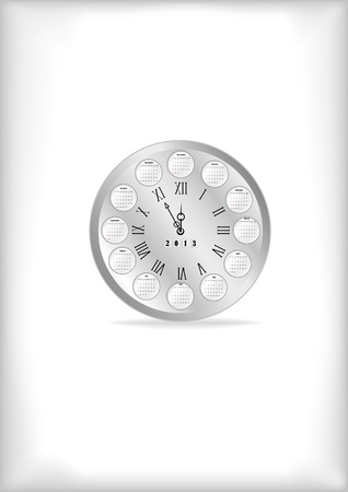 Pocket watch with a calendar on a white background