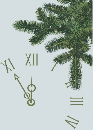 the dial and pine branch on a blue background Vector