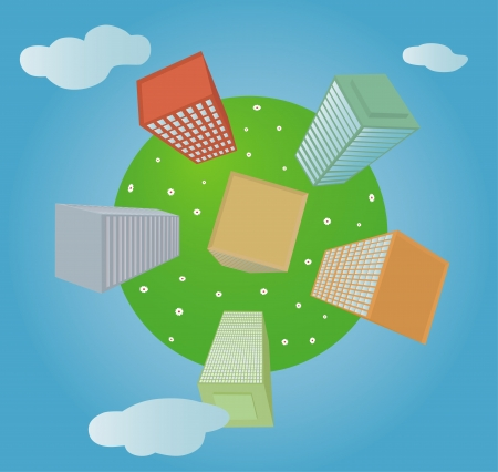 multistorey: Green planet with multi-storey buildings and flowers Illustration