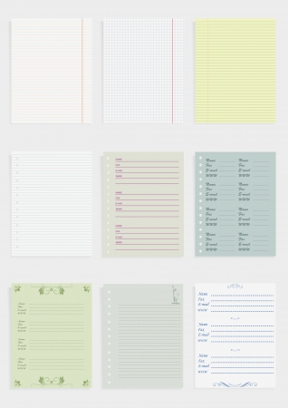 Collection of various color paper for records Illustration