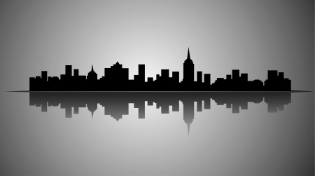 silhouette of a city: City silhouette Illustration