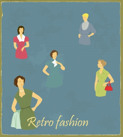 Illustration of a retro of fashion with girls models Illustration