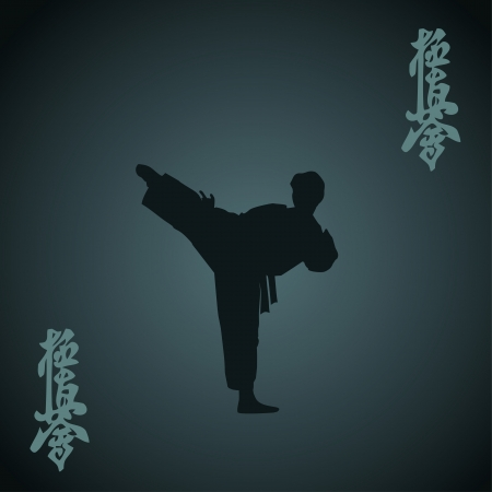 The man engaged in the karate on dark a blue background