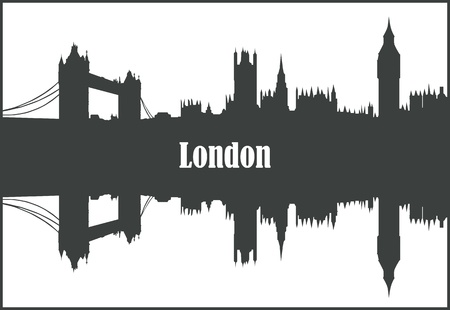 london skyline: Contour of the city of New York  on a white background