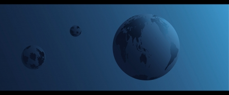 darkly: Planet Earth and space on darkly blue background Illustration