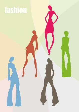 colourful silhouettes of various female models Illustration