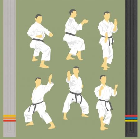 karate fighter: Set of various images of karate and hieroglyphs Illustration