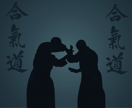 illustration, men are engaged in aikido on a light background