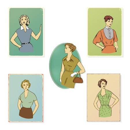 variety of retro fashion illustrations and portraits