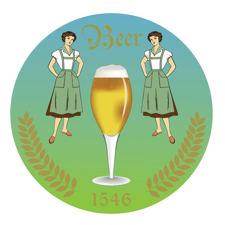 beer garden: vintage retro label beer garden, badges and icons