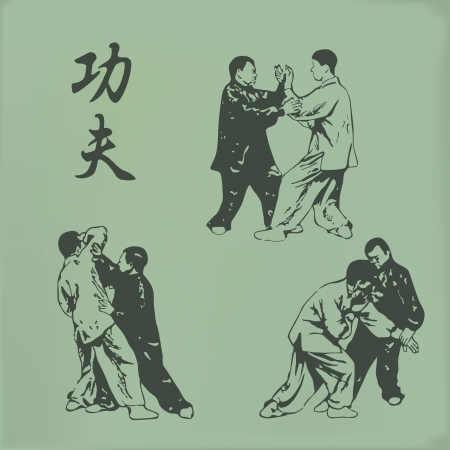 aikido: vintage illustration of men involved in kung fu