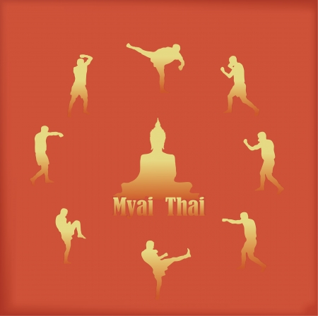 Illustration with the image of Thai boxers on an orange background Vector
