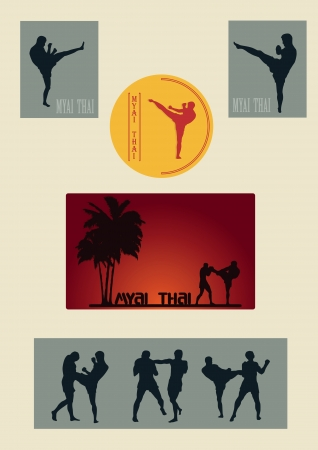 Illustration, set of images of Thai boxers on a gray background Vector