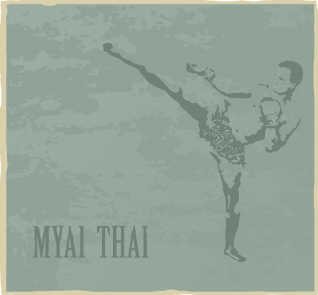 Illustration with the image of the Thai boxer on a gray background Vector