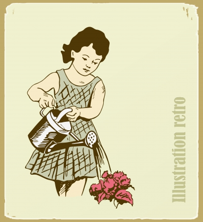 The retro an illustration, the girl takes care of flowers