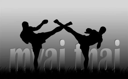 thai boxing: Illustration with the image of Thai boxers on a gray background