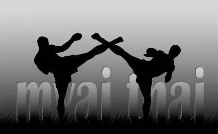 thai buddha: Ilustraci�n con la imagen de los boxeadores tailandeses en un fondo gris