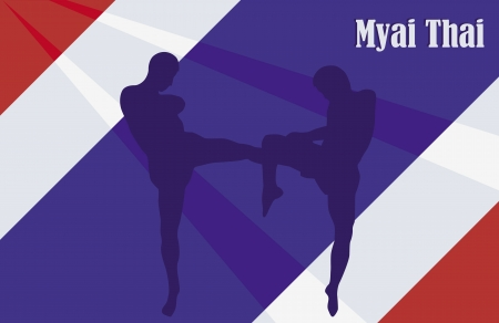Illustration with the image of Thai boxers against a flag