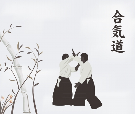 illustration, men are engaged in aikido on a light background Vector