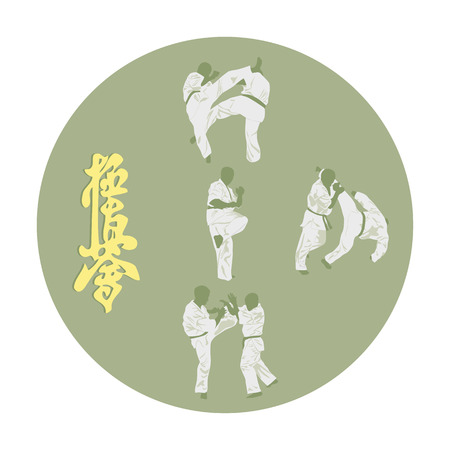 Set of various images of karate and hieroglyph