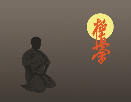 Man engaged in meditation against a dark background Vector