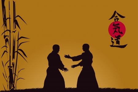 illustration, men are occupied with aikido against a dark background