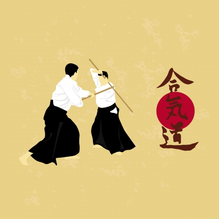 illustration, men are engaged in aikido on a light\ background