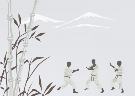 Three men are engaged in karate Illustration