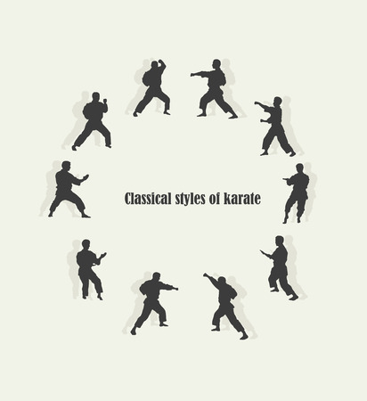 Illustration, men are engaged in karate Vector
