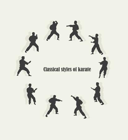 Ilustración, los hombres participan en el karate