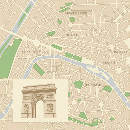 triumphal: Map of the city of Paris and Triumphal arch