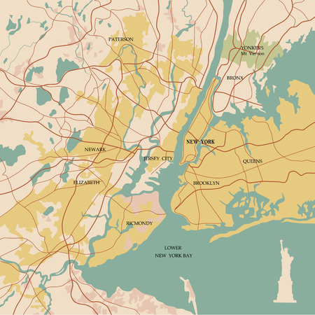 new york map: Map of the city of New York and Statue of Liberty